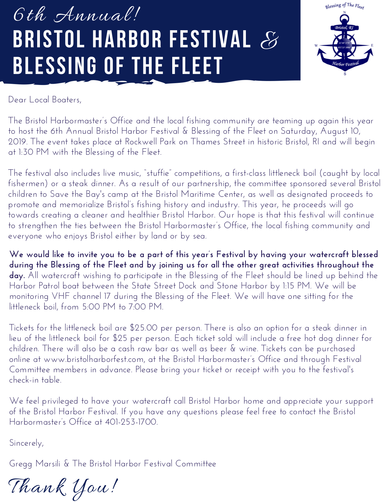 Bristol Harbor Festival Letter to Local Boaters