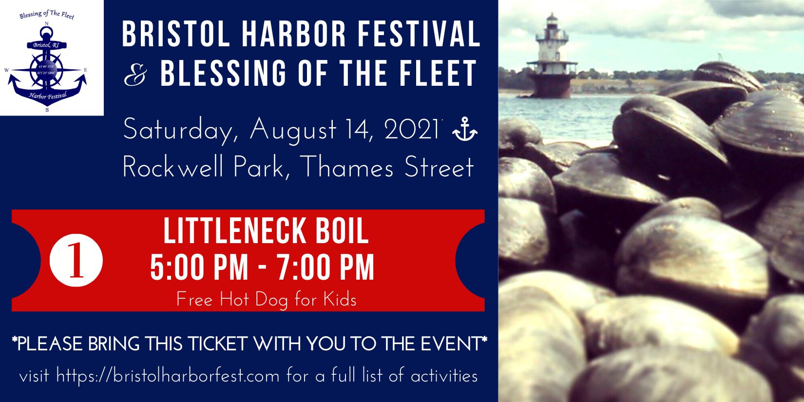 Bristol Harbor Festival 2021 Littleneck Boil Ticket